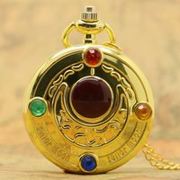 antique sailor - New Full Hunter Golden Sailor Moon Quartz Pocket Watch Chain Necklace Womens Gifts