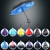 Wholesale Creative Inverted Umbrellas Double Layer Upside Down Inverted Umbrella Reverse Design Windproof C Handle Umbrella For Car KKA1161