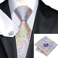 Precio de Lazo formal de color rosa-SN-542 Pink Cornflowerblue Darkgray Yellow Novedad Tie Hanky Cufflinks Sets Corbatas de seda de los hombres para los hombres Formal Wedding Party Groom
