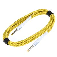Wholesale Venta caliente M ft Amarillo de Tela Trenzada Tweed Guitar Cable Excelente Accesorio Guitarra