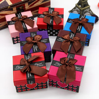 Wholesale 7 color Watch Box Gift Boxes with Pillow Love hearts packing box cute Bowknot paper square watch case