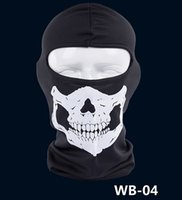 Wholesale New Skull Mask Skeleton Balaclava Ghost Tactical Motorcycle Breathable Outdoor Sports Ski Cycling UV Protect Full Face Mask