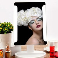 Wholesale LED makeup mirror LED make up mirror with USB built in adjustable lights black white retail package