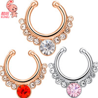 Wholesale 12 KUNIU Gold plated Zircon Copper Septum Piercing Nose Ring Hoop Nose For Women Faux clip Rings Body Jewelry Nose Ring Studs