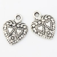 animal rims - MIC x15 mm Antique Silver Double Dots Hearts With Weaved Rim Heart Charms Pendants Fashion Jewelry DIY L907