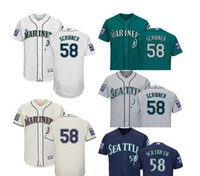 maillot authentique 58 achat en gros de-Vente en gros - 2017 Men039; s Seattle Mariners 58 Evan Scribner Authentique maillot de base Base Flex avec patch 40ème anniversaire Green Green cre