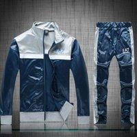 Wholesale Long suit man M XL Men s Tracksuits Blue White long Tracksuits tracksuits Survetement long sleeve Jogger Pants Separates