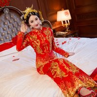 Wholesale Chinese troditional red wedding dress New style Xiuhe suit Bridal gown Chinese gragon gown Long sleeve show Autumn and winter cheongsam