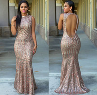 gold sequined long designer dresses achat en gros de-Blush Rose Gold Sequined Mermaid Prom Robes de soirée 2017 Keyhole Back Long Designer Designer Evening Gown