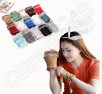 Wholesale Women Fingerless Rabbit Fur Leather Gloves Hand Wrist Warmer Winter Half fingers Glove Mittens colors OOA925