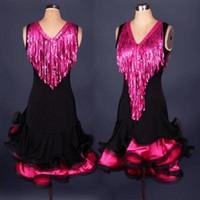 ballroom dance dresses kids - Women Girls Sequins Tassel Latin Dance Dress Cha Cha Rumba Samba Ballroom Dancing Dancewear Fitness Clothes Lady Kids Dance Costume