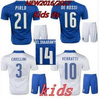 Wholesale 2016 Italy kids Soccer jersey Italia ZAZA INSIGNE EL SHAARAWY PIRLO VERRATTI MARCHISIO Children Football shirt