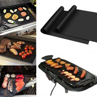 Wholesale Reusable Non stick Black BBQ Grill Mat Barbecue Baking Liner Cooking Sheet Microwave Oven Cooking Mat BBQ Grill Cover