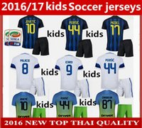 Wholesale Thailand Quality kids Inter Milan soccer Jerseys kit home away rd Inter Milan JOVETIC ICARDI PALACIO KONDOGBIA football shirts