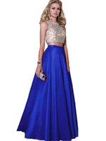 Wholesale 20172 Pieces Prom Dresses Beads Formal Long Bridesmaid Dresses A Line Crew Neck Zip Back Satin Long Prom Party Gowns