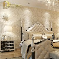 Wholesale European Simple Luxury Beige Deep Blue Damask Wallpaper For Wall D Classic Embossed TV Room Bedroom Wall paper Home Decor