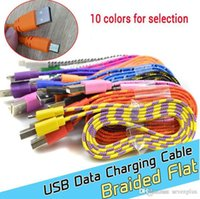 Wholesale 1M ft Flat Braided Fabic Woven Micro USB cable usb mini cable Data Sync Charger Cable Cord Wire for smartphones