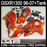 8gift orange brillant Pour SUZUKI Hayabusa GSXR1300 96 97 98 99 00 01 13MY166 GSXR 1300 GSX-R1300 GSX R1300 02 03 04 05 06 07 TOP noir Carénage