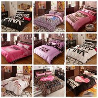 Wholesale Pink pink bedding set VS quilt cover sheet bedding set letter leopards pillowcase fashion bedding home textiles