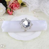 acrylic napkin rings - Diamond Acrylic Napkin Rings Stone Silver tone Serviette Holder Wedding Banquet Bridal Dinner Table Favor Supply