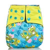 Wholesale Baby Cartoon Cute Frog Owl Printed Diapers Washable Cloth Nappy Diaper Baby Washable Pocket Nappy Cloth Reusable Diaper Cover Wrap Nappy