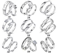Wholesale 925 Sterling Silver Jewerly Couple Rings With Rhinestone Opening Adjustable Lovers Ring For Women And Men