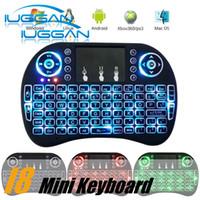 I8 teclado de juego Air Mouse Control remoto inalámbrico retroiluminación ROJO + Verde + Azul Luz con Touchpad Handheld para MXQ S905X S905 S912 TV BOX