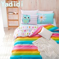 Wholesale YADIDI Cotton Rainbow Owl Bedding Set Cartoon Modern Flower Floral Twin Queen Size Stripe Bed Duvet Cover Sheet Summer