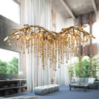 Wholesale Large Iron Pendant Light - Modern Minimalist Crystal Chandeliers Lustres Cristal Pendant Lamps G4 K9 Crystal Large Chandeliers Lighting for Hotel Deco