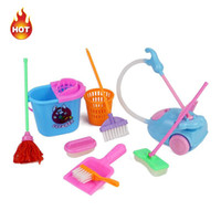 Wholesale 9pcs Delicate Doll House Cleaning Mop Broom Tools Pretend Play Furniture Toys Kit For Girls Kids Dolls Accessories