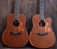 Wholesale 38inches folk electricity box acoustic guitar unfilled corner veneer wood solid top guitar