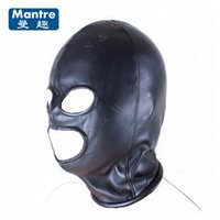 2017 New Tease Bondage Restraint Head Harnais Slave Sexy Mask 3 Hole Hood Cap Ouvrir Mouth Eyes Adult Game Sex Toys Pour Couples