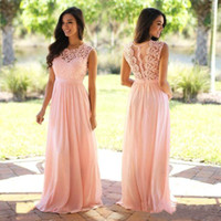 Wholesale Vintage Lace Long Bridesmaid Dresses Spring Jewel Neck A Line Chiffon Skirt Maid of Honor Gowns Formal Wedding Guest Dresses Custom
