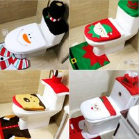 best christmas decoration - 4 Styles Cheap Merry Christmas Decoration Santa Toilet Seat Cover Rug Bathroom Set Best Christmas Decorations Gifts