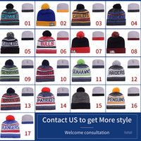 Wholesale Hot New Beanies Heather Gray Sideline Sport Knit Hat Football Pom Knit Hats Sports Cap Beanies Hat Mix Match Order All Caps Top Quality
