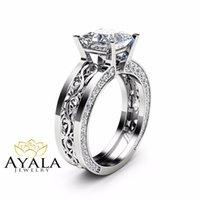 Cheap Unique Princess Cut Moissanite Ring 14K White Gold Engagement Ring