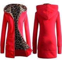 Wholesale On sale Autumn and winter The new hooded upset Leopard grain fleece Add wool Big yards coat Ms