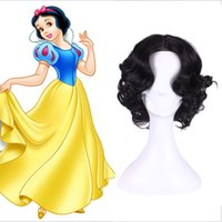 average dress size - Halloween Holiday Dressed Up Snow White Princess Wig Full Curly Wave Black Short Hair Wigs Cosplay Hair Anime Wigs
