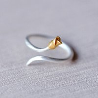 Wholesale Simple Flower Engagement Rings - New Simple Design Real 925 Sterling Silver Golden Flower Buds Tone Matte Adjustable Midi Ring Free Size Sterling Silver Jewelry