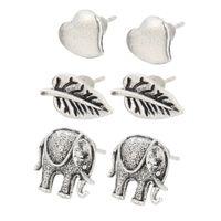 Wholesale South Korea contracted combination stud earrings suit sell like hot cakes Peach heart elephant leaves earring ornaments