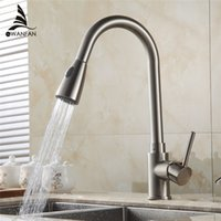 Wholesale Deluxe Pull out Spray Kitchen Faucet Mixer Tap Pullout Sprayer Kitchen Faucet SATIN NICKEL BRUSHED brass material GYD