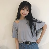 Wholesale The new spring and summer Korean college wind simple short sleeved t shirt female all match loose coat color shirt