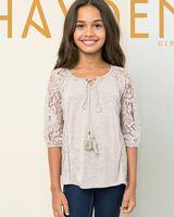 achat en gros de shirt en coton moitié manchon-Big Girls T-shirts enfants dentelle demi-manches T-shirt enfants coton dentelle-up tops 2017 nouvelles filles d'été Blouses 7-14T A0215