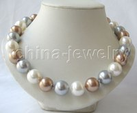 Wholesale new Noble fine jewelry gem gt gt gt gt Beautiful quot mm perfect round mix color south sea shell pearl necklace