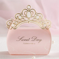 Wholesale Light Pink Gold Shiny Crown Sweet Day Wedding Gift Candy Favor Boxes CB6072
