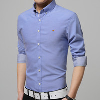 Wholesale In the spring of new men s fashion business casual Oxford textile embroidery slim long sleeved shirt