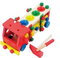 Wholesale Montessori Kids Toy Wooden Toys Removable Model Screw Truck Learning Educational Preschool Training Brinquedos Juguets