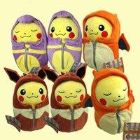 achat en gros de dormir en peluche pikachu-Cartoon peluche Pikachu Cosplay Charizard Eevee Robe Sac de couchage Ekans Peluches jouets Cartoon Mode Jouets Poupées en peluche 30cm