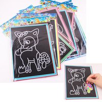 Wholesale Sheets Colorful Magic Scratch Art Painting Paper Children Painting Paper Free Drawing Pen High Quality
