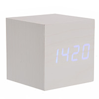 Wholesale Mini Cube Shaped Voice Activated Blue LED Digital Wood Wooden Alarm Clock with Date Temperature Ivory